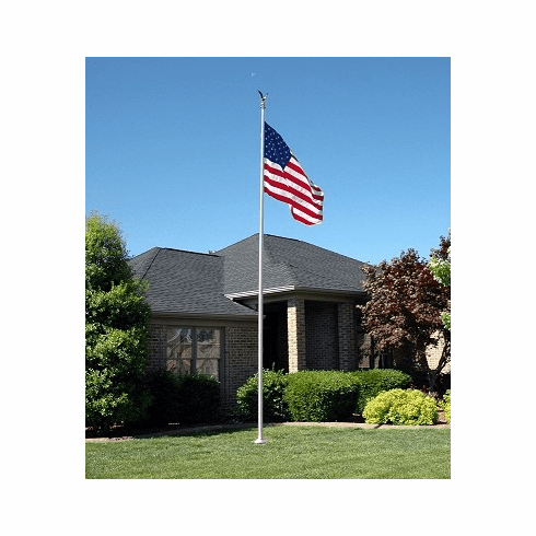 20' Deluxe Series Silver Anodized Tapered Aluminum Flagpole