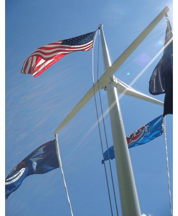 25'  Single Mast W/Yardarm & Gaff Nautical Aluminum Flagpoles
