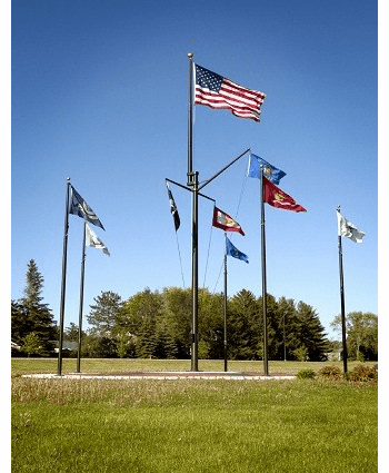 Double Mast Yard Arm & Gaff Nautical  Flagpoles