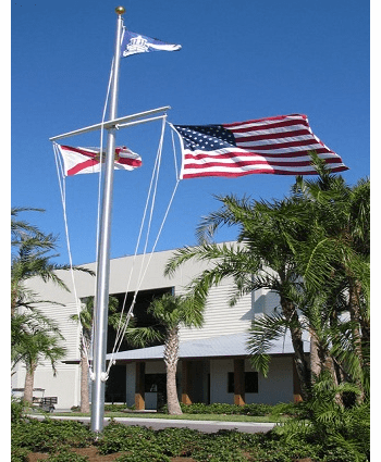 30' Single Mast W/Yardarm & Gaff Nautical Aluminum Flagpoles