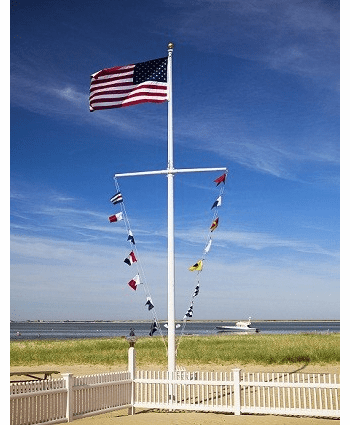 40'  Single Mast W/Yardarm Nautical Aluminum Flagpoles