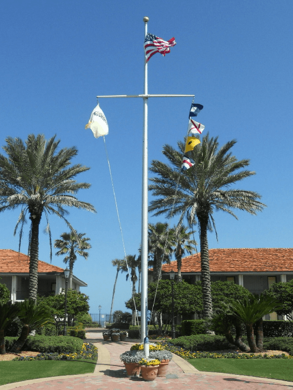 60'  Single Mast W/Yardarm Nautical Aluminum Flagpoles