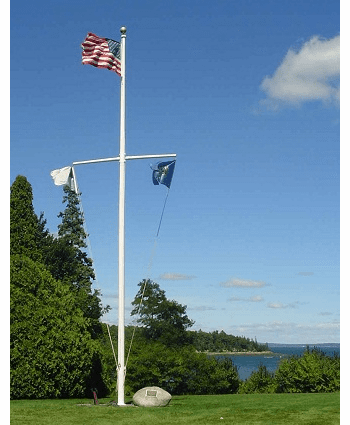 70'  Single Mast W/Yardarm Nautical Aluminum Flagpoles