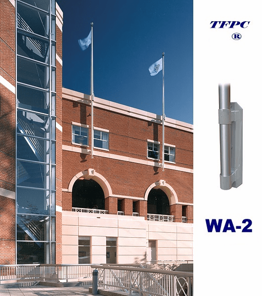 COMMERCIAL 1 PIECE  VERTICAL WALL MOUNTED FLAGPOLE WA-2 BRACKETS