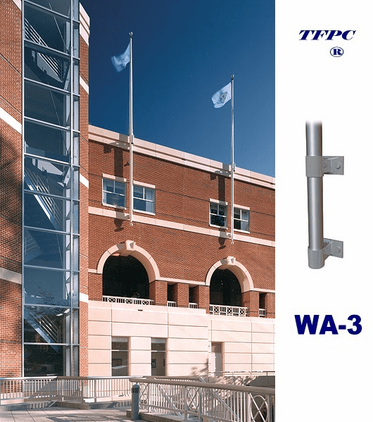 COMMERCIAL 1 PIECE  VERTICAL WALL MOUNTED FLAGPOLE WA-3 BRACKETS  FREE SHIPPING!