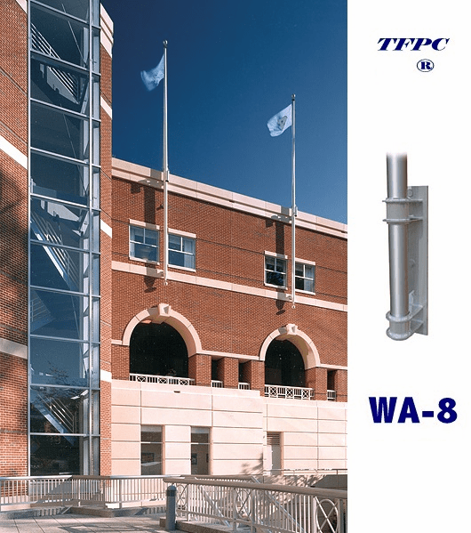COMMERCIAL 1 PIECE  VERTICAL WALL MOUNTED FLAGPOLE WA-8 BRACKETS  FREE SHIPPING!