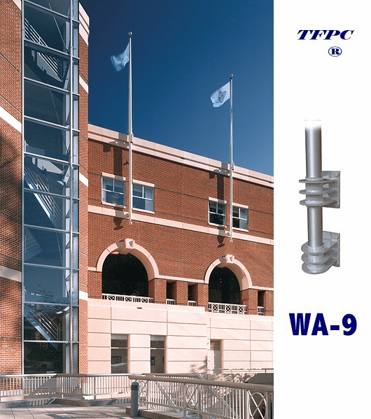 COMMERCIAL 1 PIECE  VERTICAL WALL MOUNTED FLAGPOLE WA-9 BRACKETS  FREE SHIPPING!