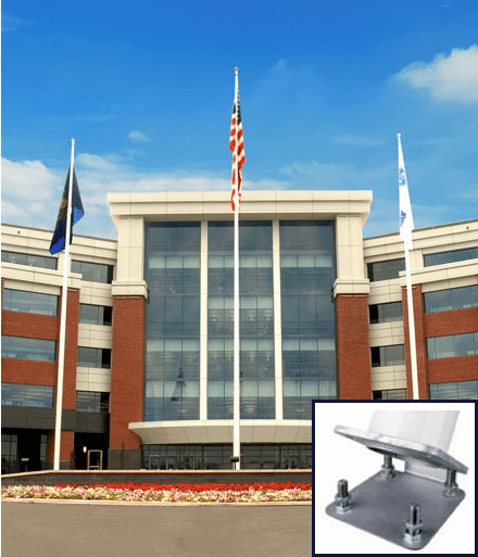 External Halyard With Hinge Base Fiberglass Flagpoles