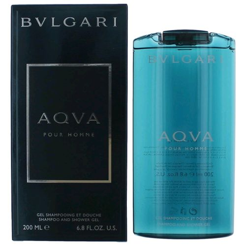 Aqva Pour Homme by Bvlgari, 6.8 oz Shampoo and Shower Gel for Men