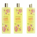 Beautiful Blossoms by Bodycology, 3 Pack 16 oz 2-1 Body Wash & Bubble Bath for Women