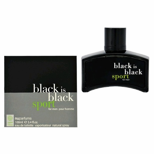 Black is Black Sport by Nu Parfums, 3.4 oz Eau De Toilette Spray for Men