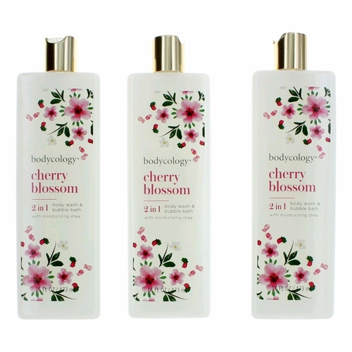 Cherry Blossom by Bodycology, 3 Pack 16 oz Body Wash & Bubble Bath for Women