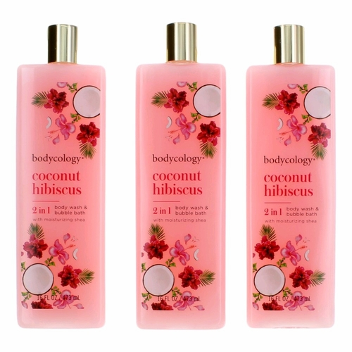 Coconut Hibiscus by Bodycology, 3 Pack 16 oz 2-1 Body Wash & Bubble Bath for Women