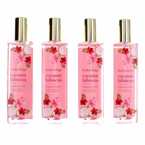 Coconut Hibiscus by Bodycology, 4 Pack 8 oz Fragrance Mist for Women
