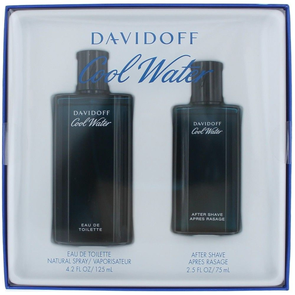 Authentic Cool Water Cologne By Davidoff, 2 Piece Gift Set