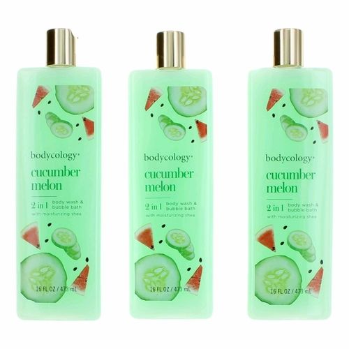 Cucumber Melon by Bodycology, 3 Pack 16 oz 2-1 Body Wash & Bubble Bath for Women