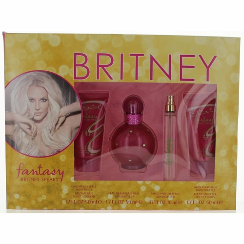 Fantasy by Britney Spears, 4 Piece Gift Set for Women with 1.7 oz