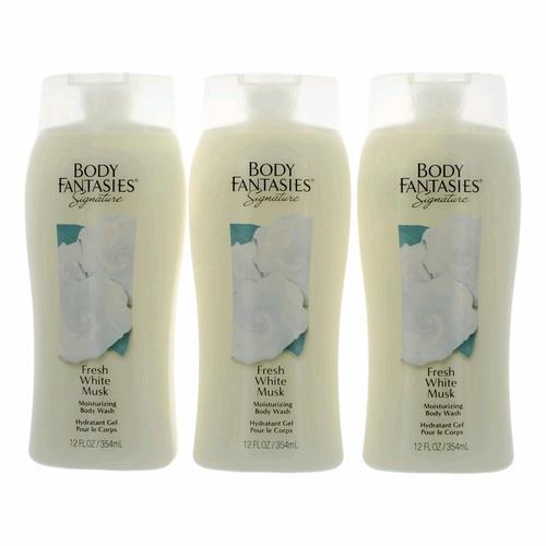 Fresh White Musk by Body Fantasies, 3 Pack of 12 oz Body Wash for Women