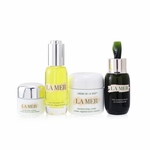 La Mer The Most-Covered Travel Collection: 1x The Concentrate - 30ml/1oz + 1x The Eye Balm Intense - 15ml/0.5oz + 1x The Renewal Oil - 30ml/1oz + 1x Cream De La Mer The Moisturizing Cream - 60ml/2oz + 1x Bag  4pcs+1bag