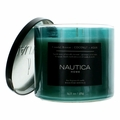 Nautica 14.5 oz Soy Wax Blend 3 Wick Candle - Costal Breeze Coconut & Aqua
