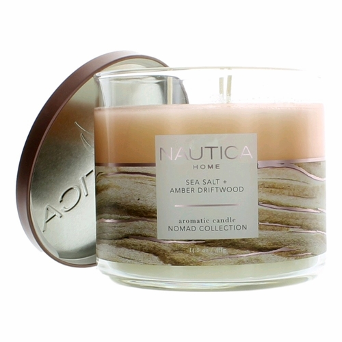 Nautica 14.5 oz Soy Wax Blend 3 Wick Candle - Sea Salt & Amber Driftwood