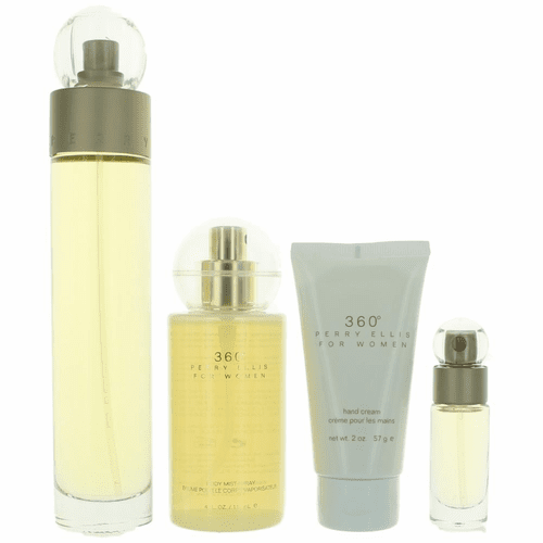 Perry Ellis 360' by Perry Ellis, 4 Piece Gift Set for Women with .25 Spray