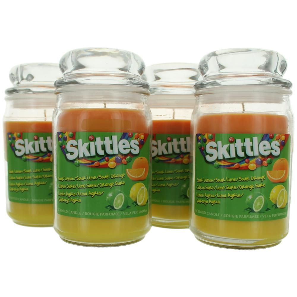 Authentic Skittles Scented Candle 4 Pack of 16 oz Triple
