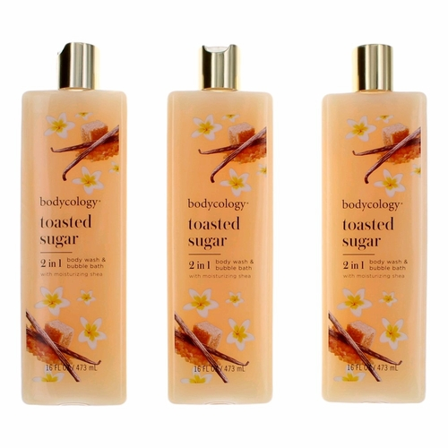 Toasted Sugar by Bodycology, 3 Pack 16 oz Body Wash & Bubble Bath for Women