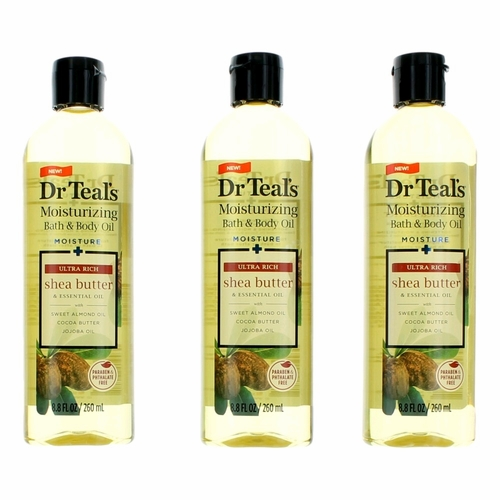 Ultra Rich Shea Butter & Essential Oil by Dr. Teal's, 3 Pack 8.8 oz Moisturizing Bath & Body Oil