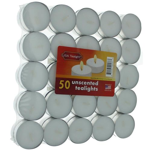 Unscented White Tealights Candles by USA Tealights, 50 Pack - Unscented