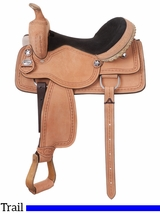 "10"" to 17"" King Series Cowboy Roughout Saddle with Barbwire Tooling 181"