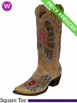 12 Wide Women's Corral Vintage Red and Blue Winged Heart Boots A1976 CLEARANCE