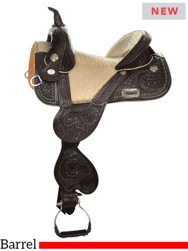 """** SALE **13.5"""" to 16.5"""" Circle Y Tammy Fischer Palomino Treeless Barrel Saddle 1326"""