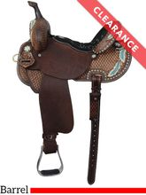 "14"" Double J Pozzi Pro Barrel Racer SBP816 w/ Matching Breast Collar, CLEARANCE"