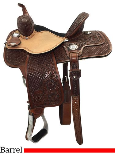 """13"""" to 15"""" Reinsman Molly Powell Painted Daisy Barrel Saddle 4262 w/Free Pad"""