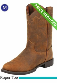 13D Men's Justin Jeb Roper Tan Apache Stampede Boots 3902, CLEARANCE