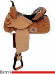 "DISCONTINUED 2019-02-06 14"" 15"" Alamo Zebra Barrel Racing Saddle 1234-zb"
