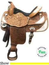 "PRICE REDUCED!! 14.5"" Used Big Horn Medium Show Saddle 1898 usbh4013 *Free Shipping*"