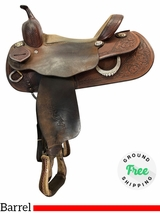 "PRICE REDUCED! 14.5"" Used Custom Trophy Medium Barrel Saddle uscu4110 *Free Shipping*"