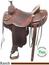 """SOLD 2018/07/27 14.5"""" Used Trent Ward Wide Ranch Saddle ustw4049 *Free Shipping*"""