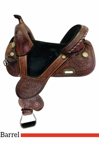 14.5Inch Used Tammy Fischer Treeless Daisy Barrel Racer Saddle 1308 *Free Shipping*