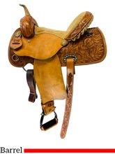 14 Inch Used Alamo Colonial Tooled Barrel Racer Saddle 1274-COL *Free Shipping*