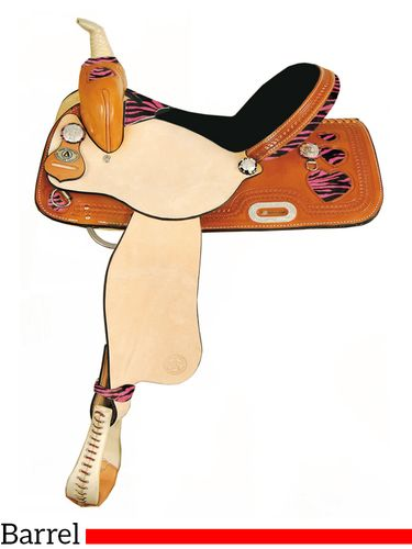 "15"" 16"" American Saddlery Zebra/Jaguar Heart Racer Barrel Racing Saddle 892"