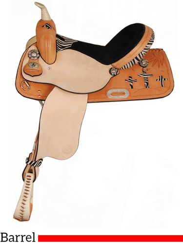"15"" 16"" American Saddlery Zebra/Jaguar Sunrise Cross Barrel Racing Saddle 890"