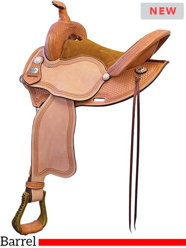 "15"" 16"" Fabtron Sunset Basket Tooled Barrel Saddle 7714"