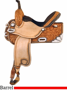 "16"" Tex Tan Silver Show Racer Barrel Saddle 292229"