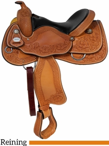"15.5"" 16"" Crates Hand-Tooled Ladies Reining Saddle 4517"