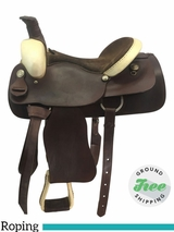 "SOLD 2018/03/12  15.5"" Used Cimarron Wide Roping Saddle usci3671 *Free Shipping*"