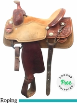 "PRICE REDUCED! 15.5"" Used Reinsman Tyler Magnus Wide Roping Saddle 4465 usrr4045 *Free Shipping*"