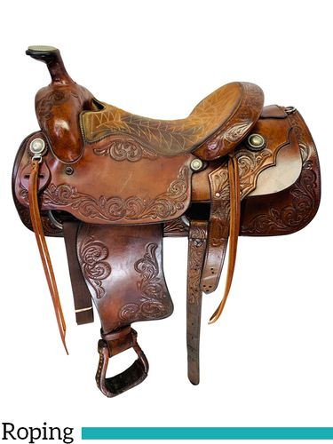 SOLD 2019/10/10  15.5Inch Used Billy Cook MAKER Roping Saddle Custom *Free Shipping*